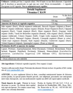 vitamina C raw 60 capsule